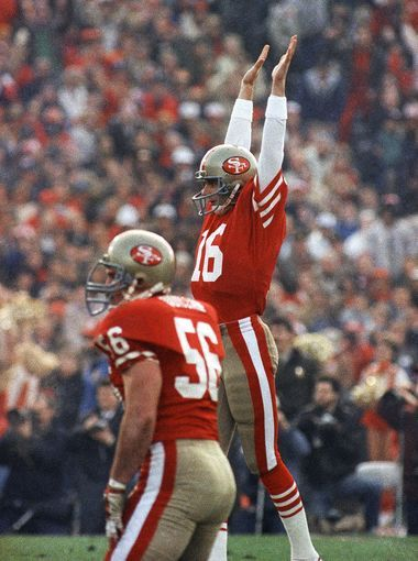 joe montana celebrates a win over the dolphins