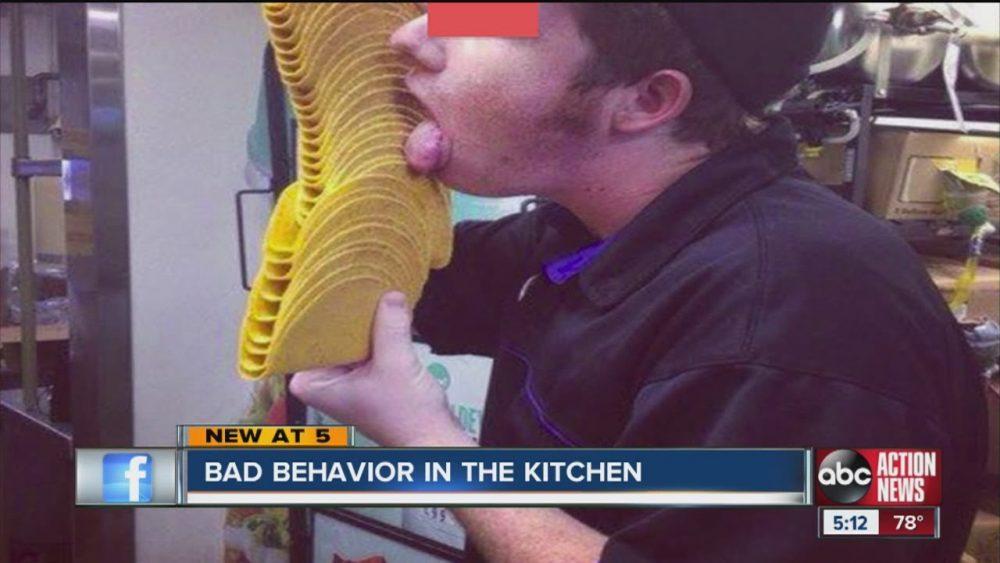taco bell employee licks shells fast food employees bad behavior