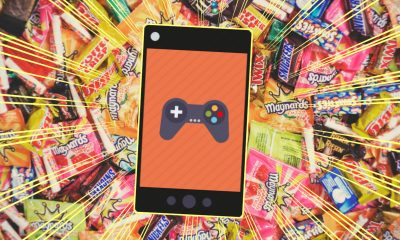candy background and phone games
