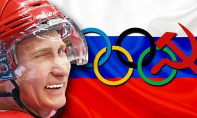 Winking Vladimir Putin in hockey helmet
