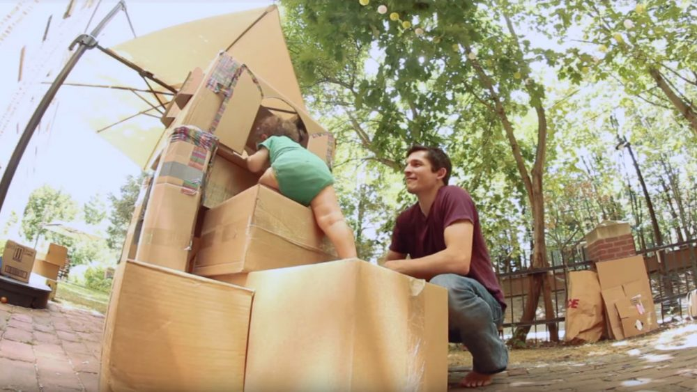 cardboard playhouse with slide