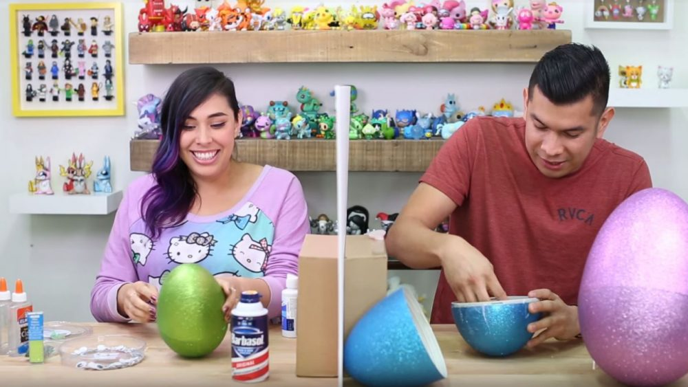 making easter slime in giant eggs