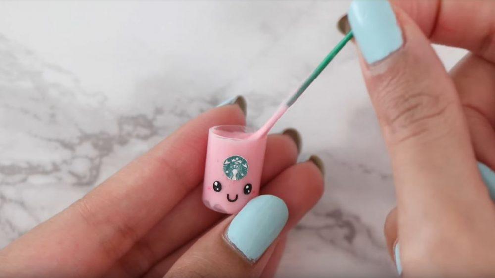 mini pink slime in mini starbucks cup