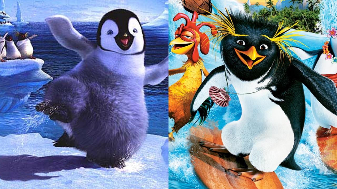 two movies happy feet surfs up...