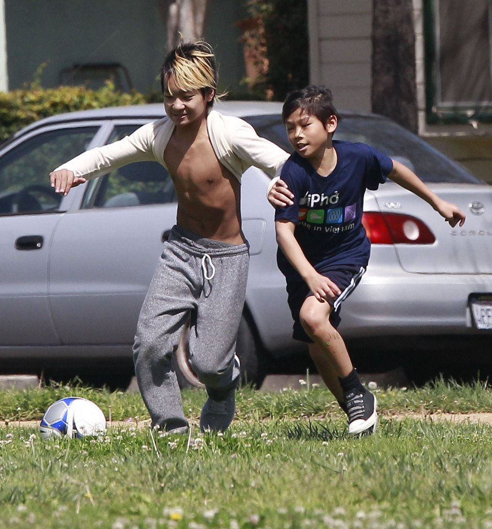 Maddox & Pax Jolie-Pitt Playing Soccer With Friends