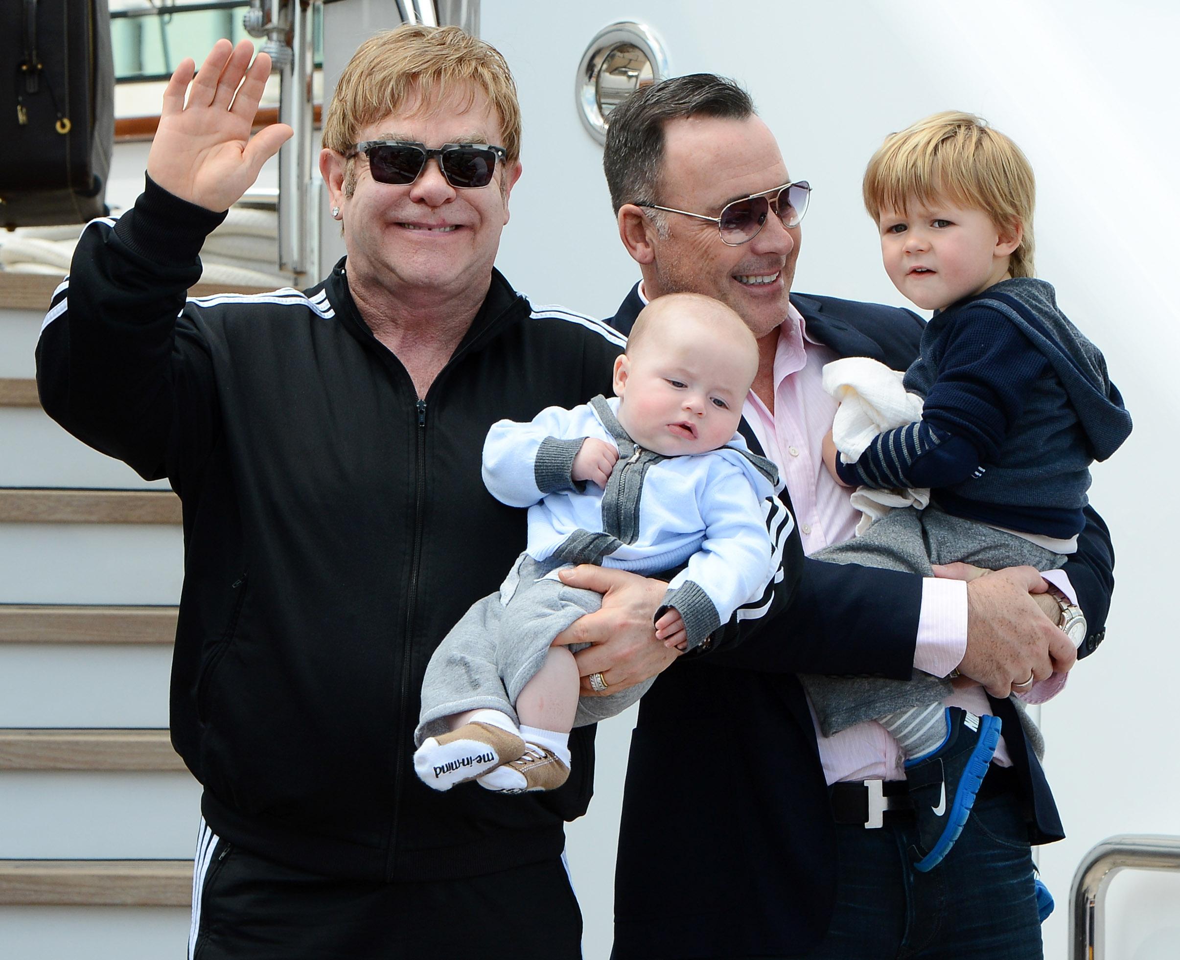 Elton John & David Furnish With Their Sons In Venice