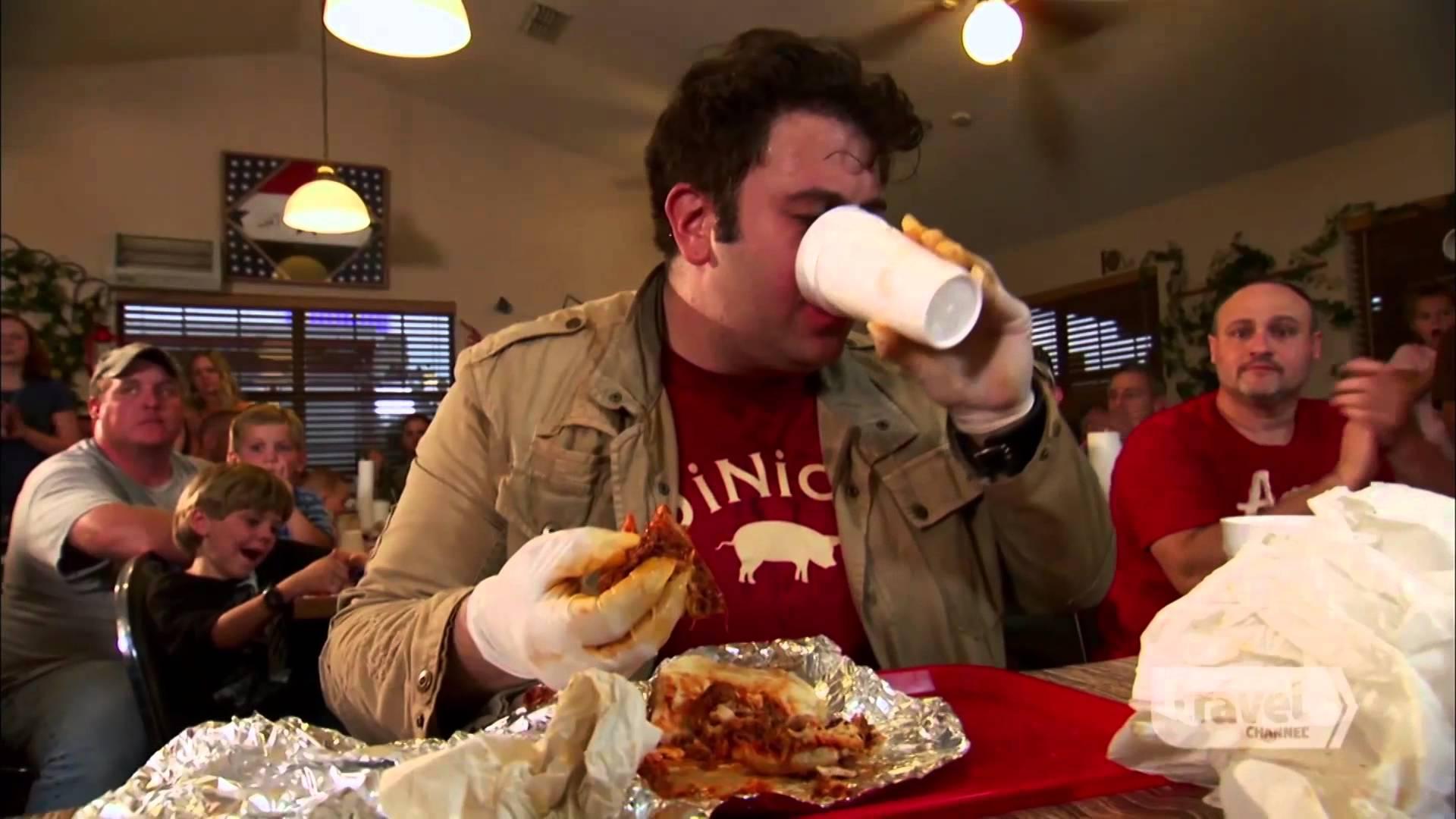 Man vs Food atomic hot wings challenge