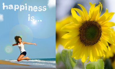 girl jumping on beach with happiness is... in clouds abover her head next to sunflower
