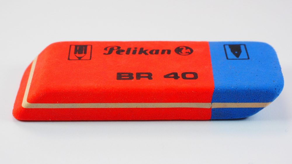 blue and red eraser