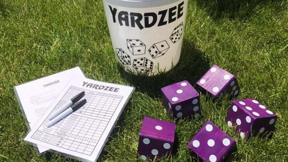 yardzee giant purple dice yard game