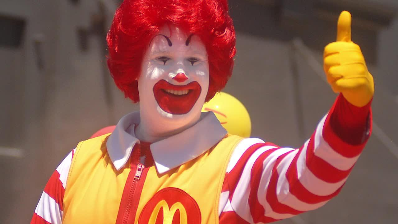 The happy clown is the face of McDonald's.