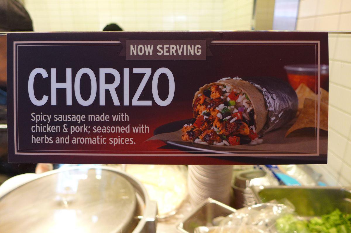 Chipotle chorizo burrito