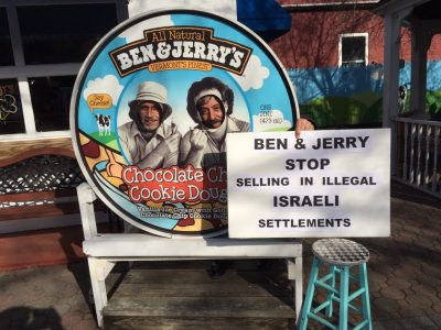 Protesting Ben & Jerry's ice cream sales in the Gaza strip