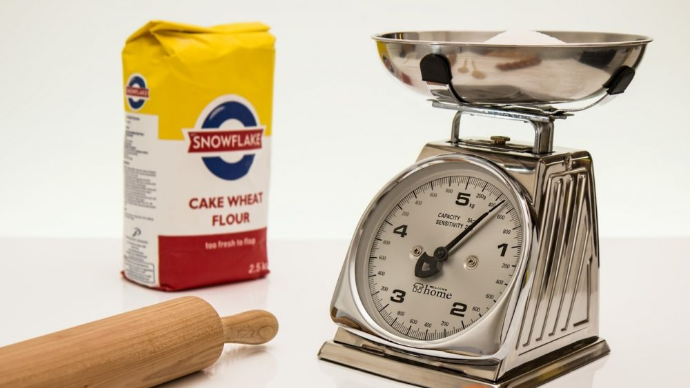 kitchen scale and flour