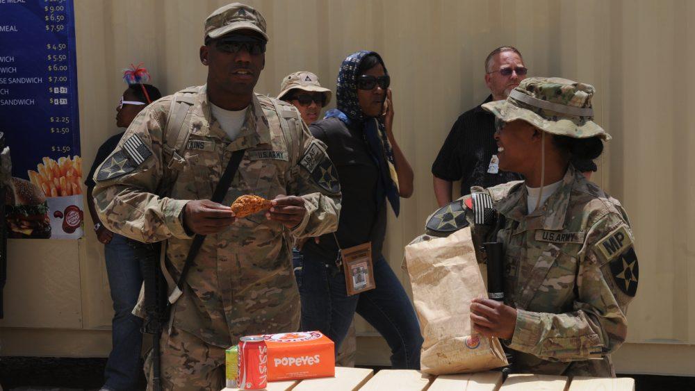 soldier in Kandahar eating Popeyes