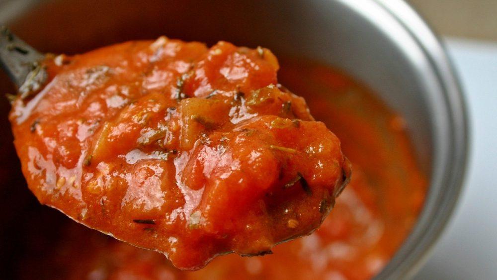 tomato soup on a spoon