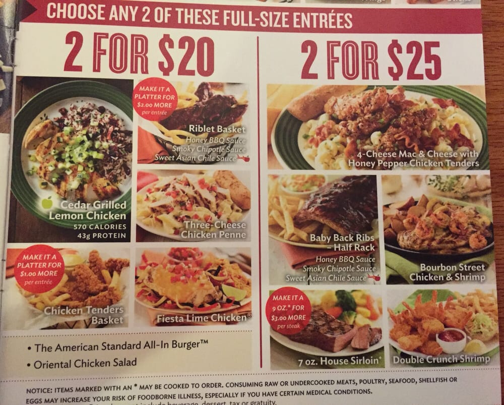 Pictures of Applebee's 2 for $20 deal