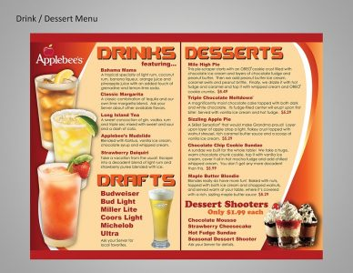 Applebee's alcoholic beverages and mouth-watering desserts