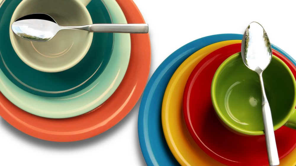 stacks of colorful dishes