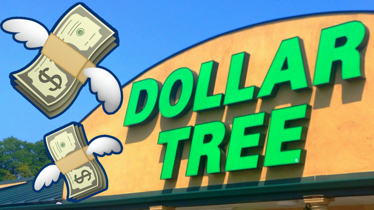 dollar tree with flying money emokis