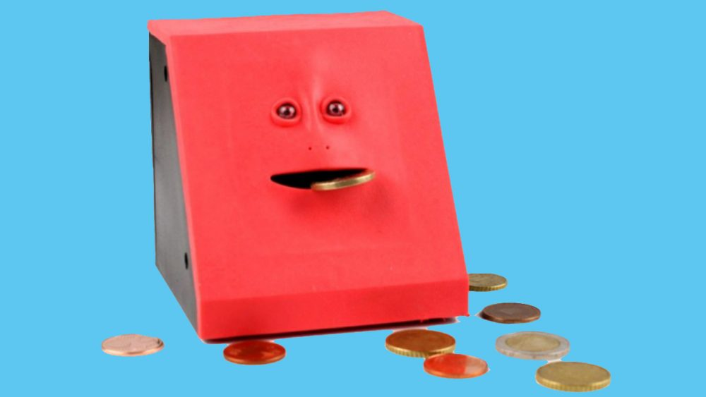 red face bank that eats your coins