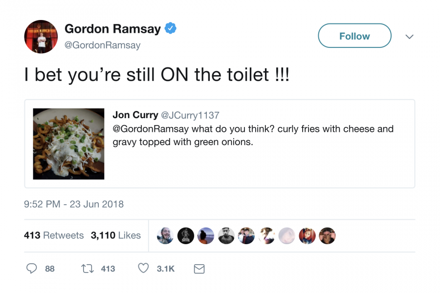 Gordon Ramsay insulting food on twitter