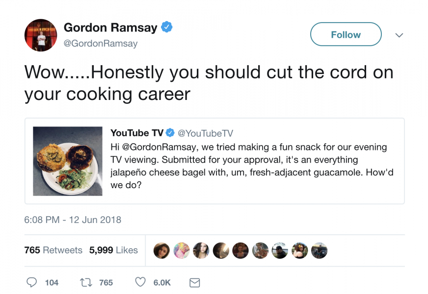 Gordon Ramsay insulting youtube on twitter