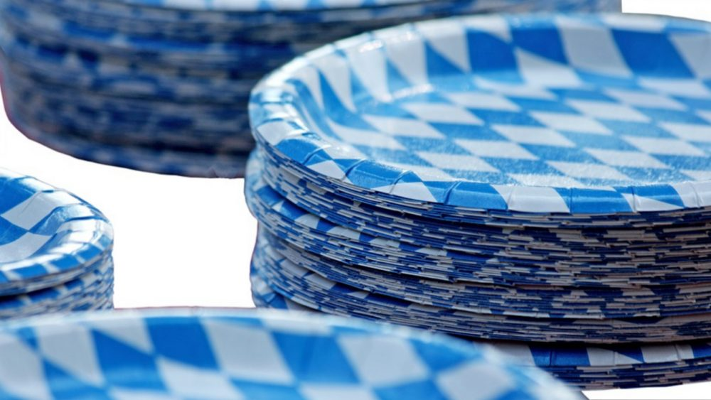 blue and white paper plates
