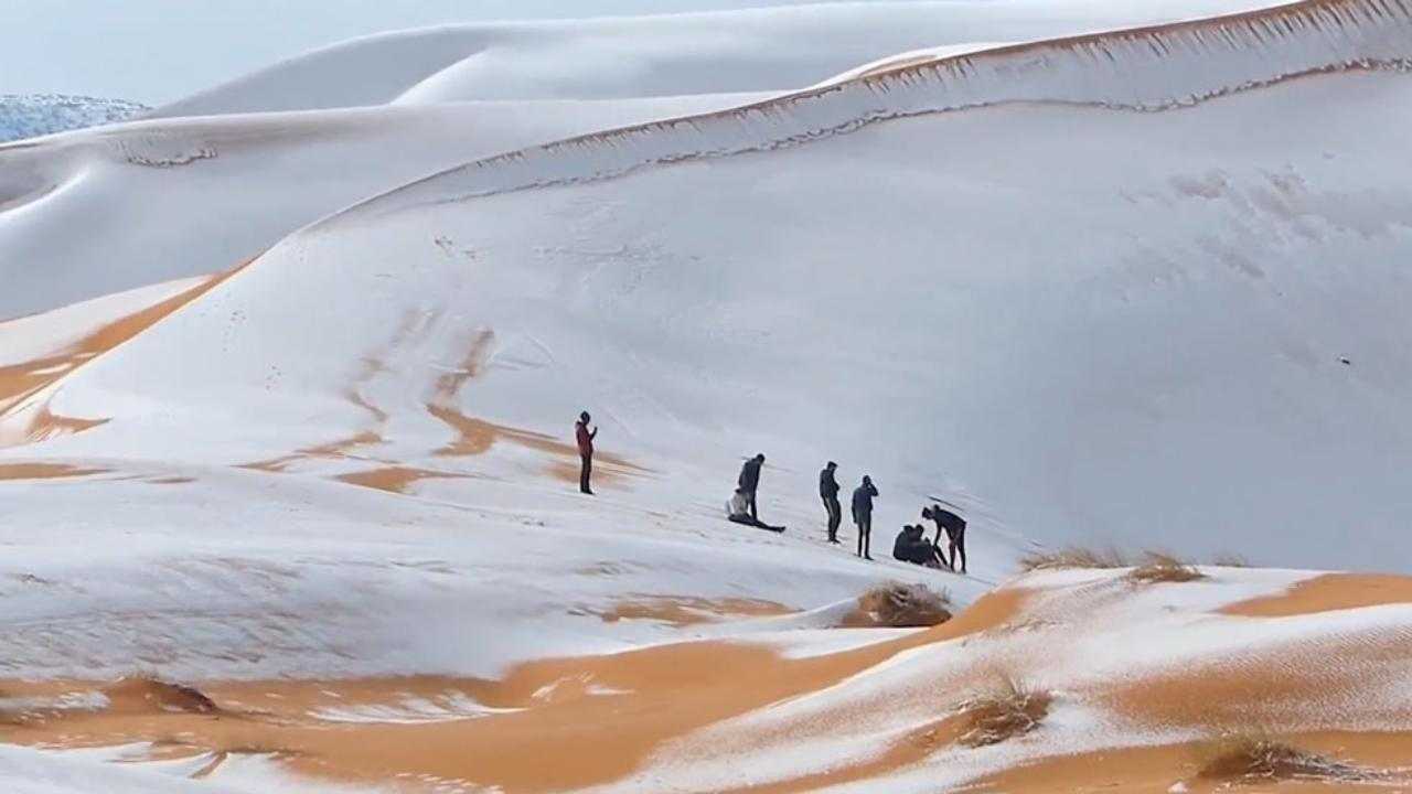 rare snowfall in the desert