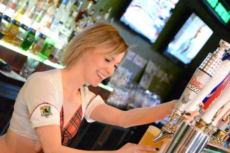 Tilted Kilt girl hard at work