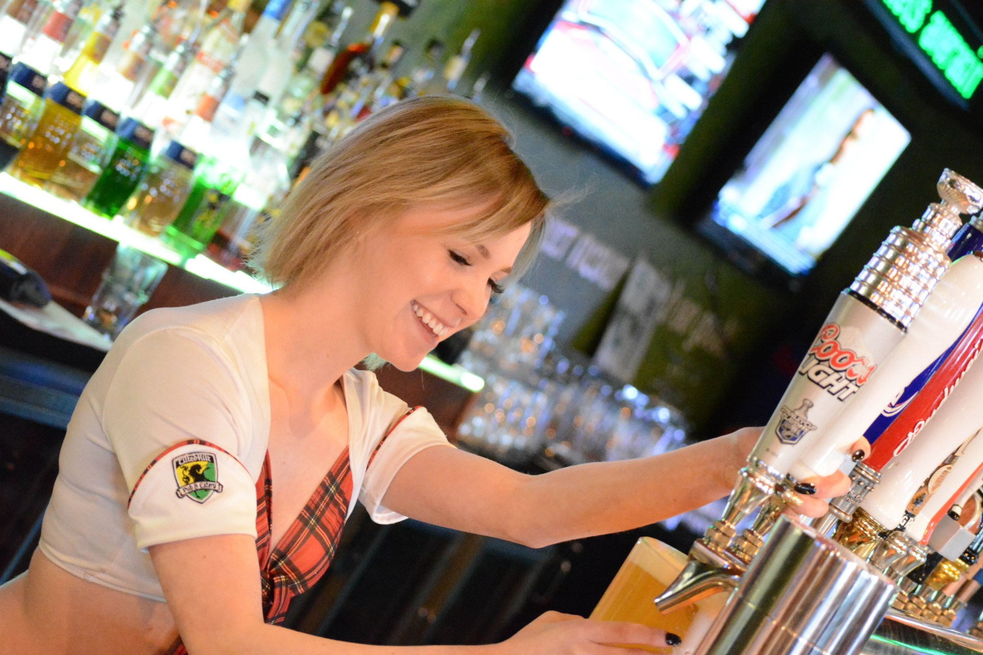 Tilted Kilt Girl At Work