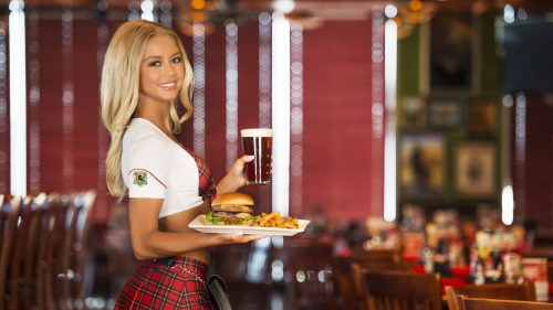 Tilted Kilt girl about to serve an order