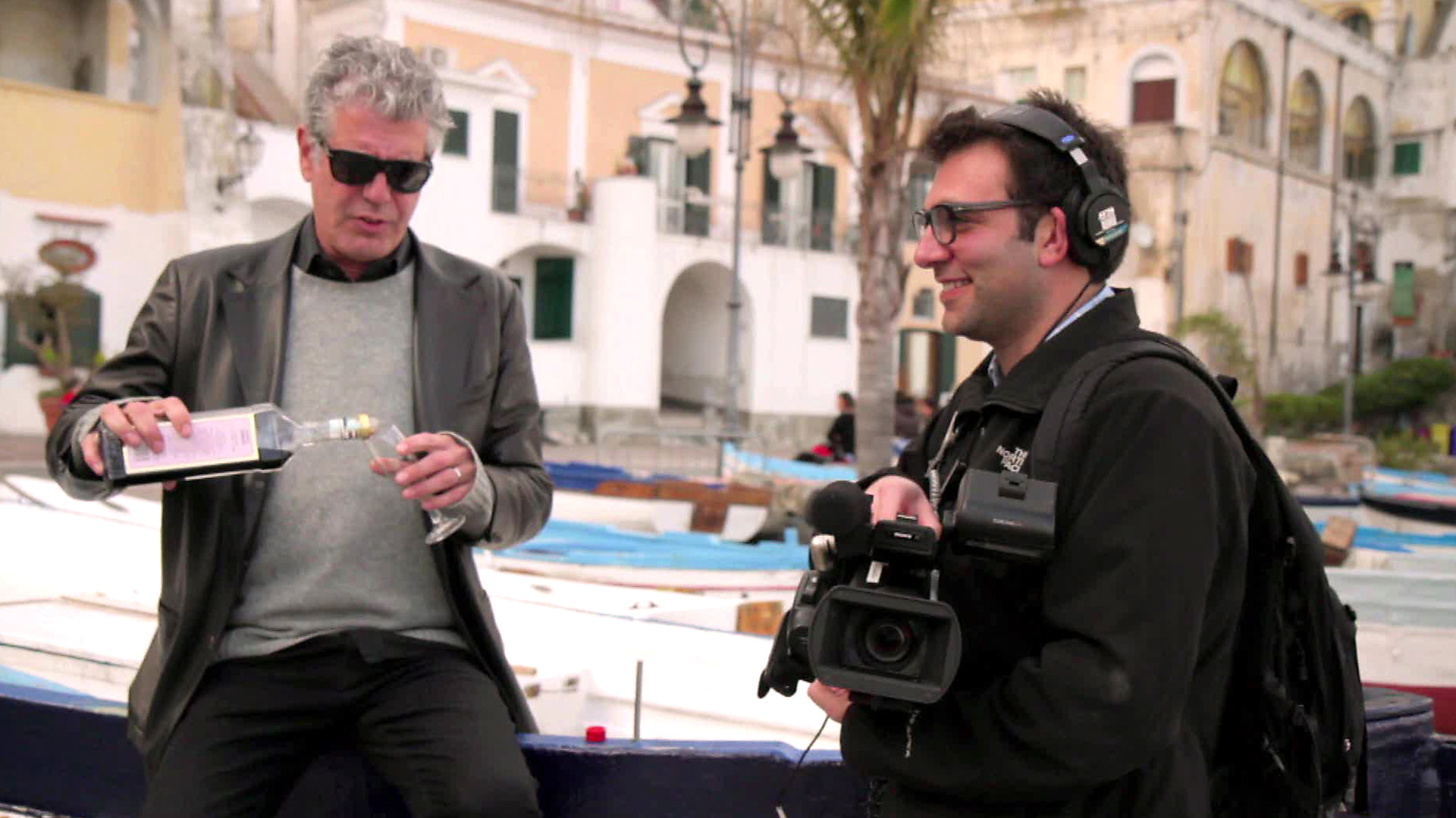 Anthony Bourdain talks to his producer.