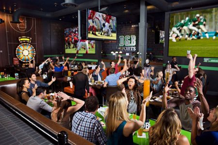 Crowd watching sports at Dave & Buster's