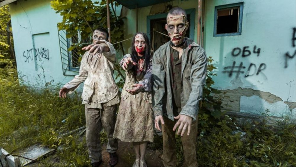 group of people dressed up as zombies
