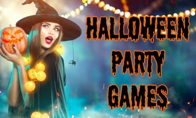 witch holding pumpkin with text saying halloween party games