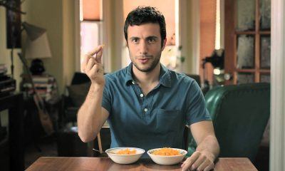 man eating Kraft Dinner