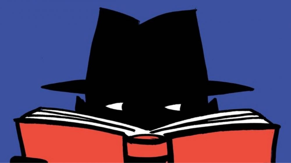 illustration of mystery man holding a book
