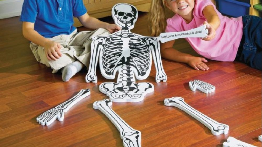 kids making a skeleton puzzle