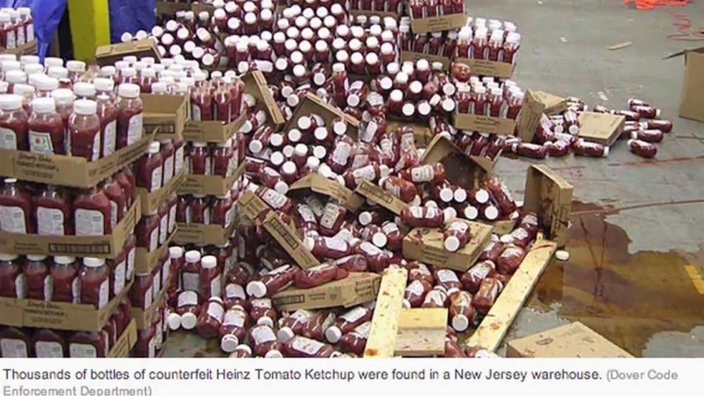 fake ketchup bottles explode