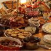 table of buffet food items