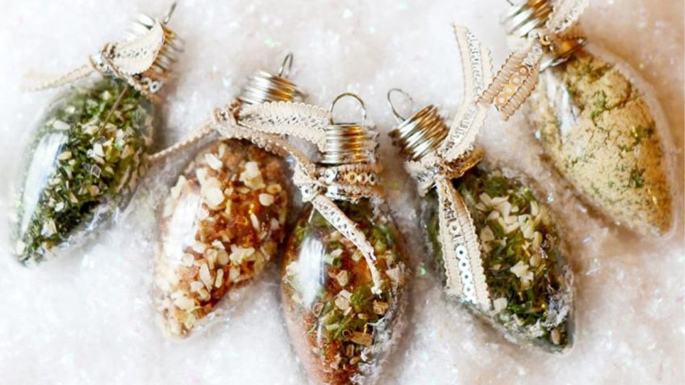 christmas bulb ornaments with dip mixes in them