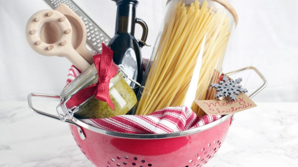 food gift kit with pasta, sauce, strainer