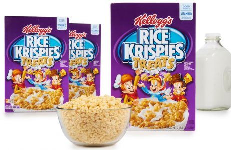 Rice Krispies Treats Cereal box, bowl of cereal and milk