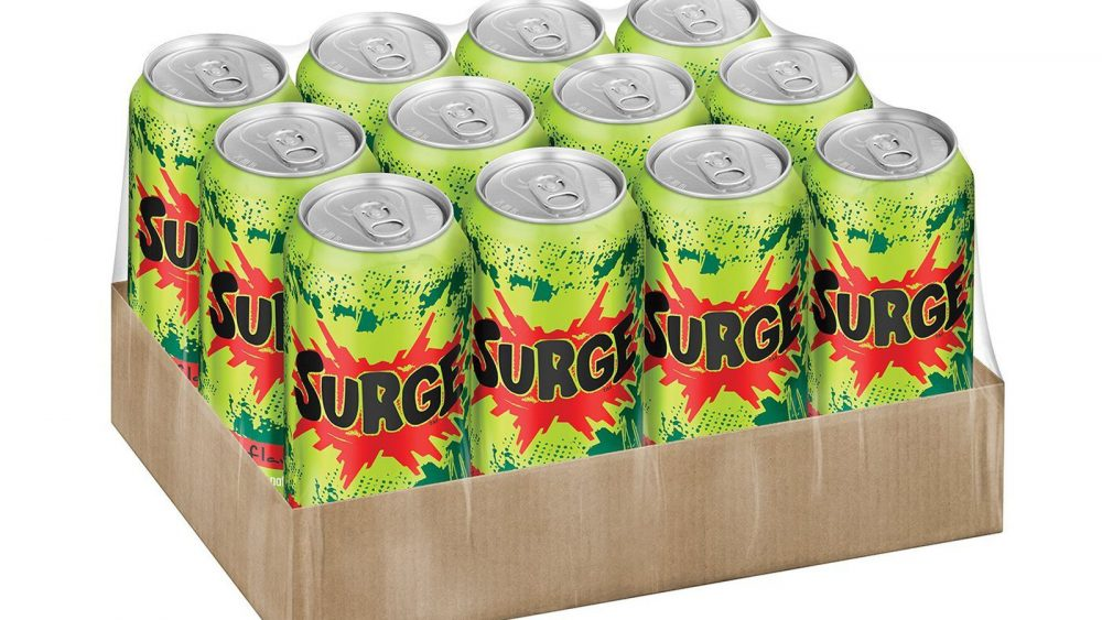 Cans of Surge in box