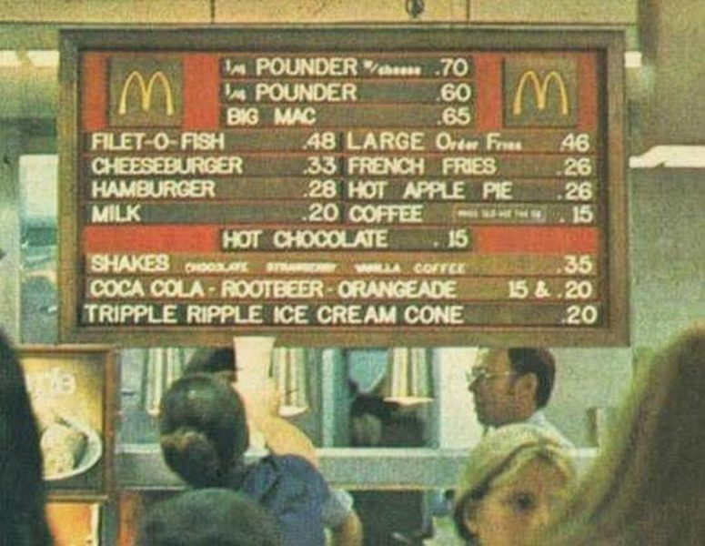Classic McDonald's menu with prices