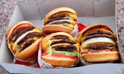 Four In-N-Out hamburgers