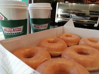 Krispy Kreme donuts and coffee