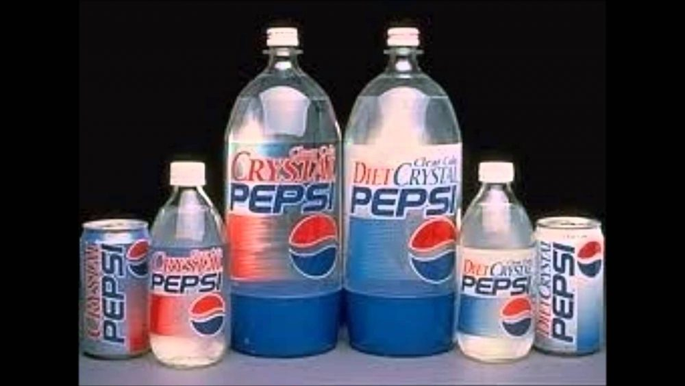 Crystal Pepsi different packagings