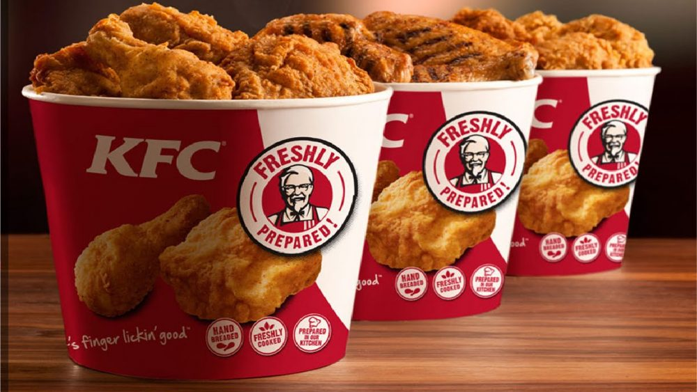 Three KFC chicken buckets
